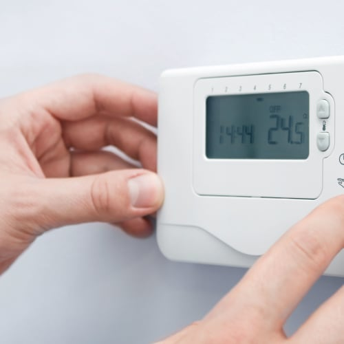 A thermostat being adjusted near Red Dot Storage in North Little Rock, Arkansas