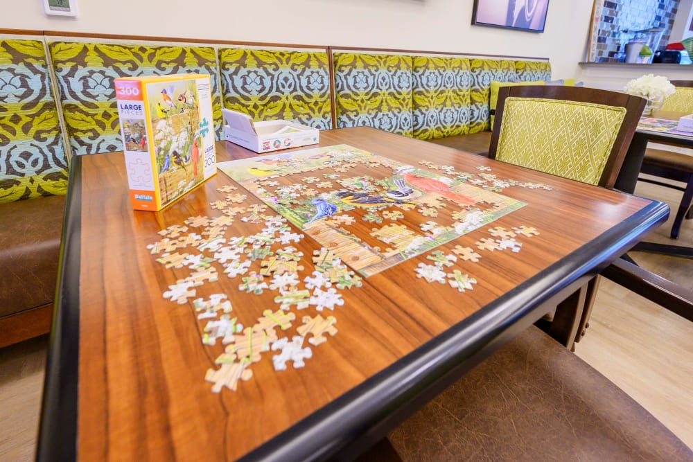 Puzzle in activity room at Harmony at Victory Station in Murfreesboro, Tennessee