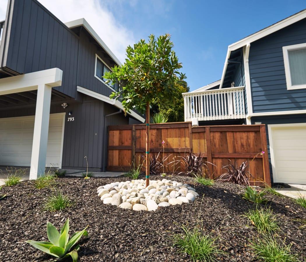 Spacious deck  and a beautifully manicured front yard at Santa Cruz Coast Homes in Santa Cruz, California