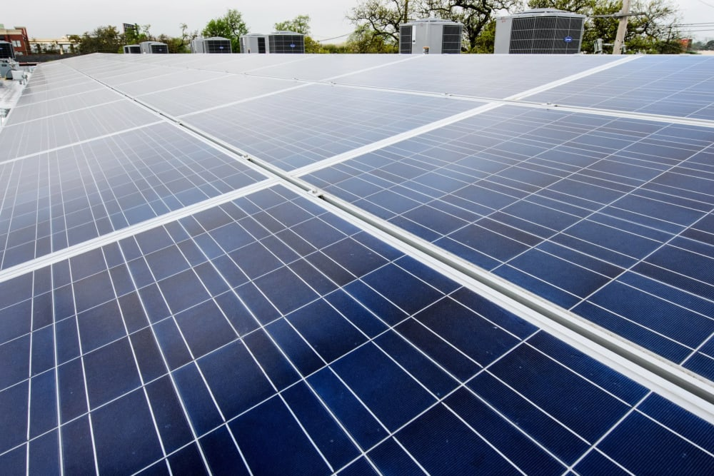 Solar panels at Gold Seal Lofts in New Orleans, Louisiana