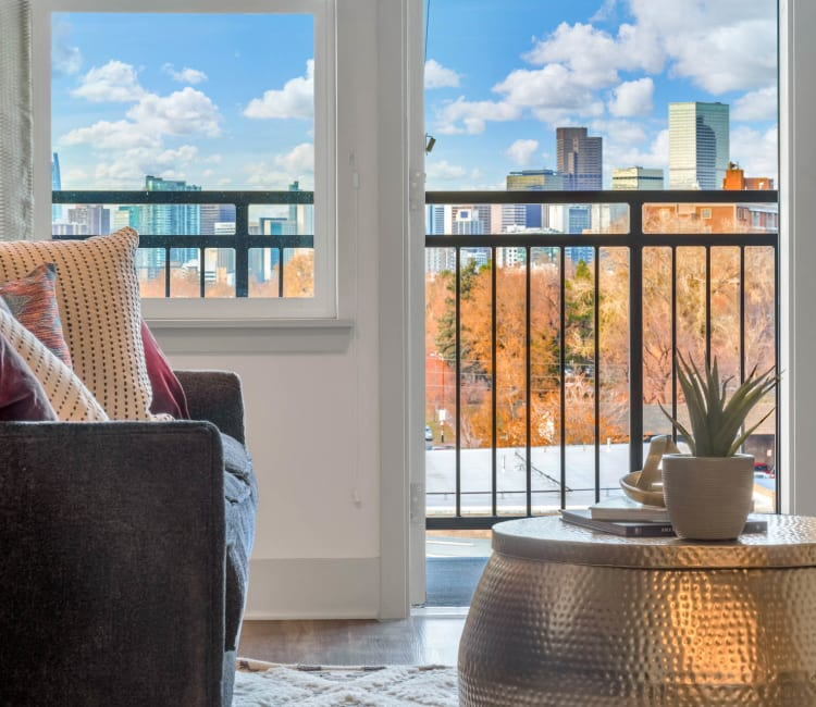 The view of downtown Denver from the living room at Alta SoBo Station in Denver, Colorado
