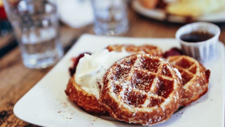 Breakfast waffles at the Toasted Yolk Cafe near Olympus Grand Crossing in Katy, Texas