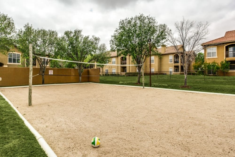 Sand volleyball court at Estates on Frankford in Dallas, Texas