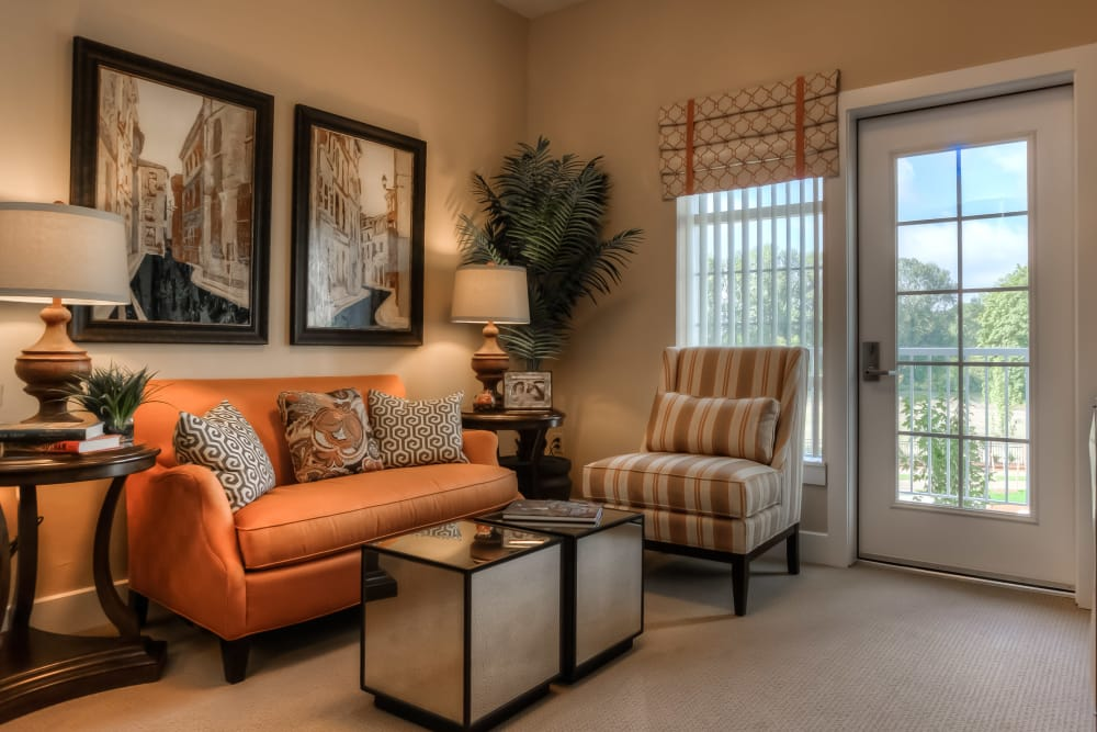 Beautiful apartment living room at Waterford Grand in Eugene, Oregon