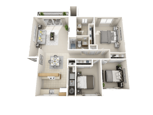 The McIntosh Floor Plan at The Park at Cooper Point Apartments