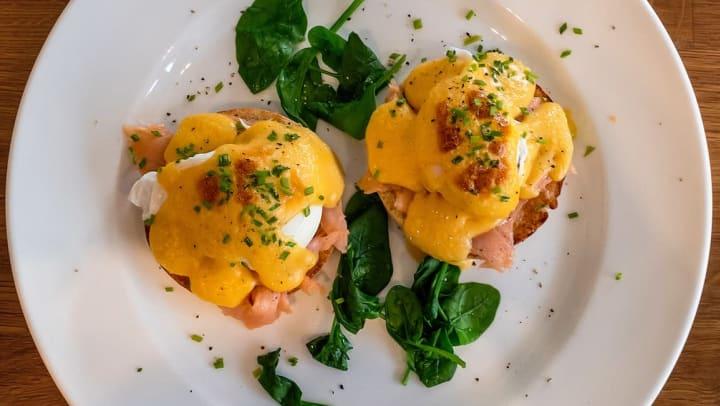 Delicious eggs benedict from a restaurant near Mosaic Dallas in Dallas, Texas