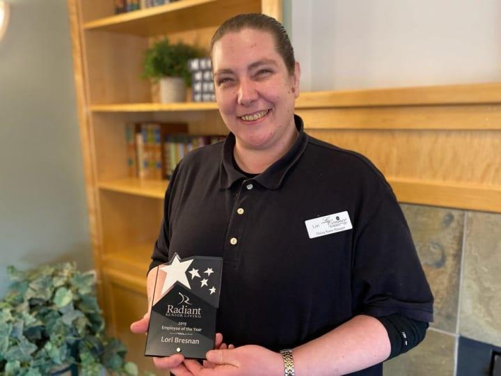 Lori Bresnan winner of 2019 Radiant Senior Living Employee of the Year