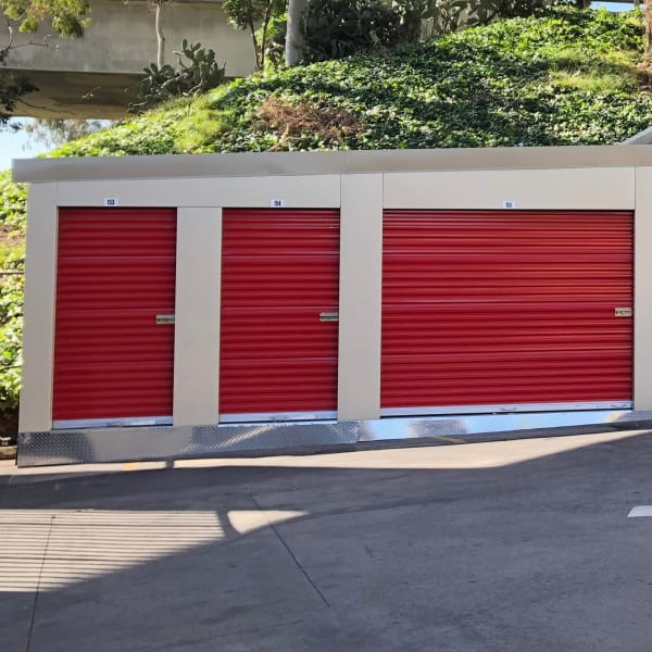 Outdoor storage units of different sizes at StorQuest Self Storage in Los Angeles, California