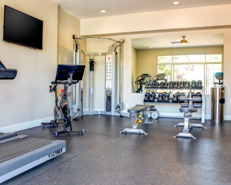 Well-equipped onsite fitness center at Sofi Belmont Hills in Belmont, California