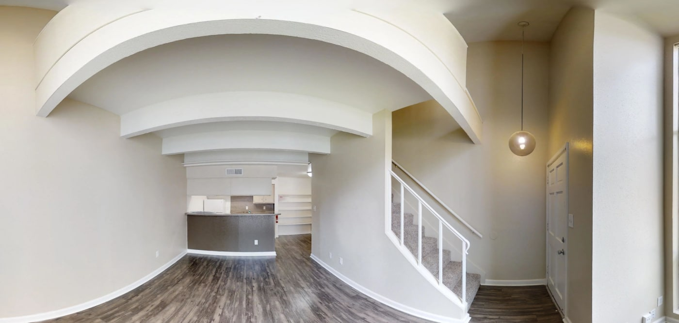 Living room 360 view at Falls of Maplewood Apartments