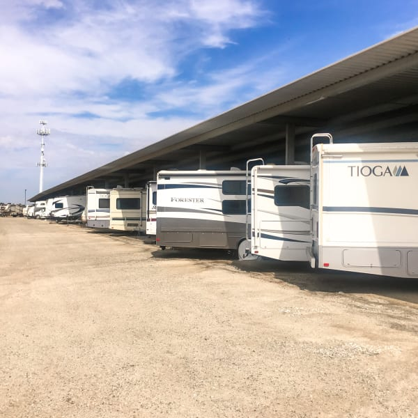 Covered RV, boat, and auto parking at StorQuest Self Storage in Reno, Nevada