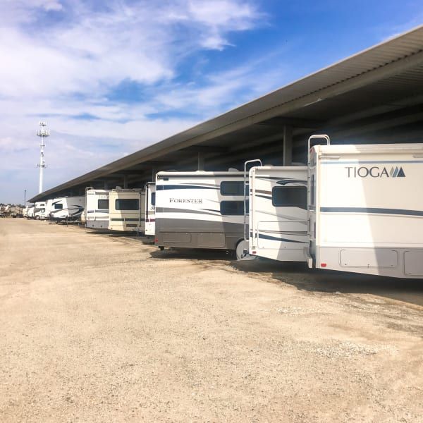 Covered RV, boat, and auto storage at StorQuest Self Storage in Richmond, Texas