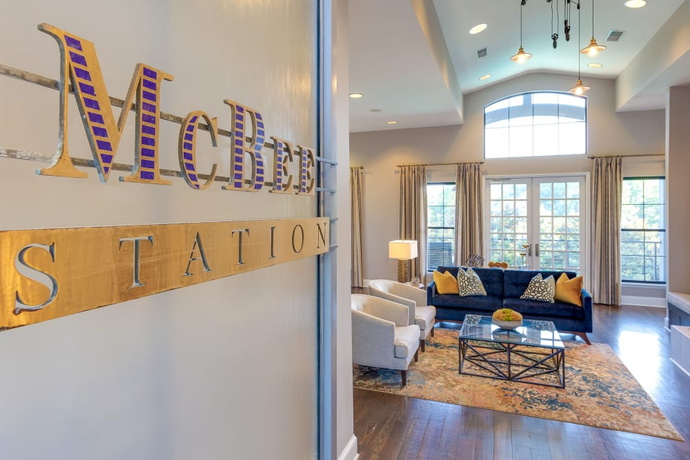 Lobby entrance with sitting room at McBee Station in Greenville, South Carolina