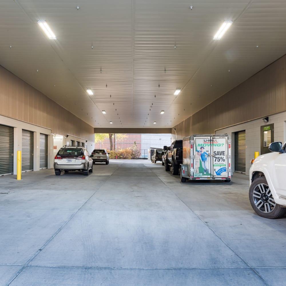 The breezeway at Cubes Self Storage in Kirkland, Washington