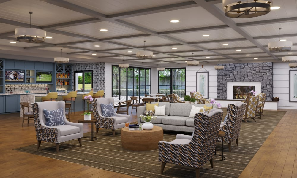 The fireside lounge at Touchmark at Fairway Village in Vancouver, Washington