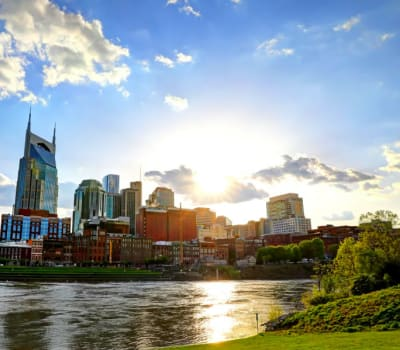 Beautiful view of downtown near Audubon Park in Nashville, Tennessee