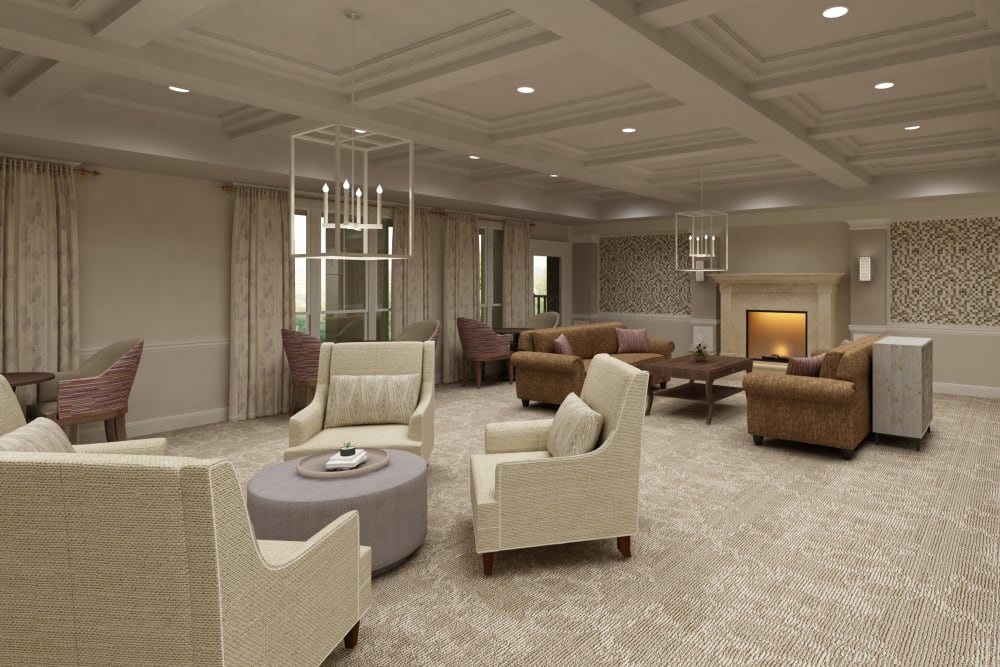 Architectural rendering of seating area at Harmony at Bellevue in Nashville, Tennessee