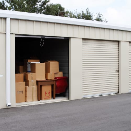 A wide driveway and open unit at Red Dot Storage in North Little Rock, Arkansas