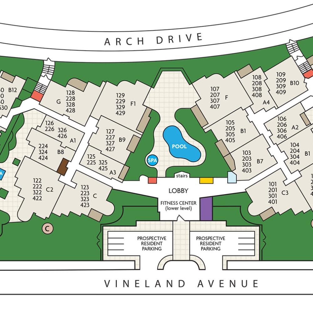 Community site plan for L'Estancia in Studio City, California