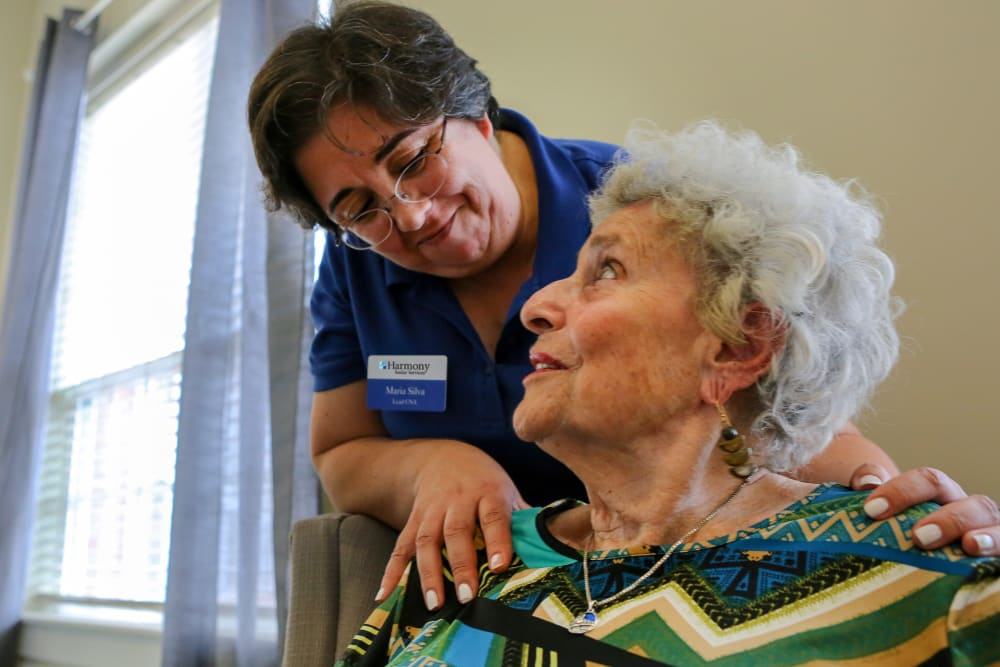 A resident and caretaker at Harmony at Morgantown in Morgantown, West Virginia