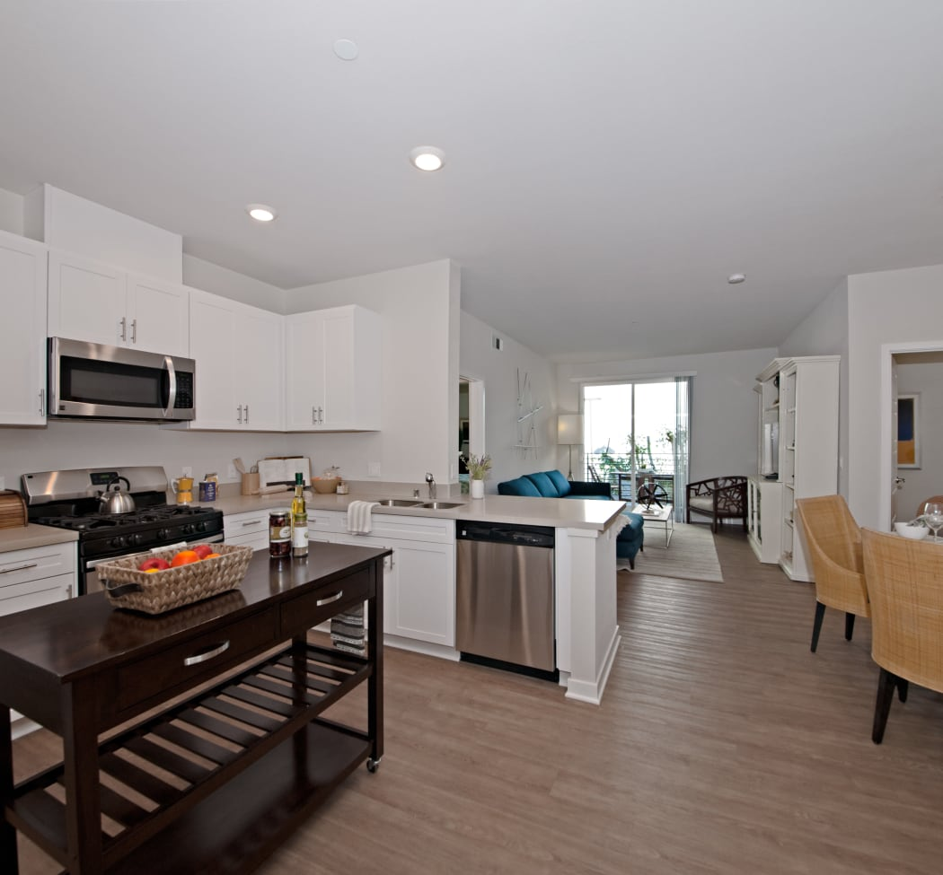 Spacious, open-concept floor plan in model home at IMT Sherman Circle in Van Nuys, CA