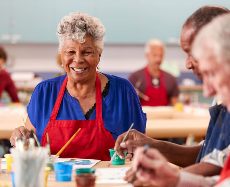 Residents in an art class at Aurora on France in Edina, Minnesota.