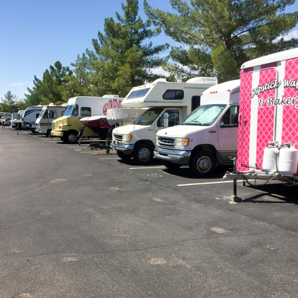 RV and trailer parking at StorQuest Self Storage in Anaheim, California
