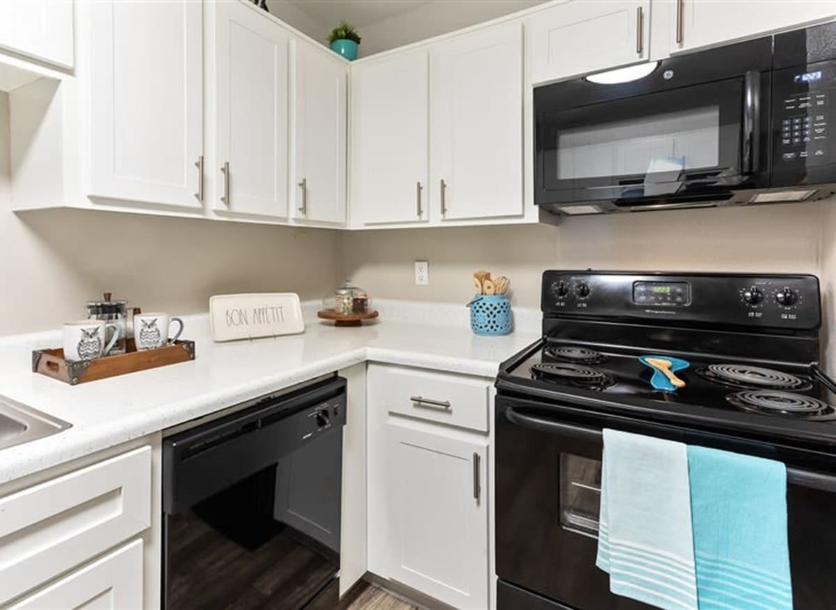 A spacious kitchen with plenty of countertops at Argenta Apartments in Mesa, Arizona