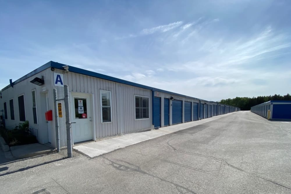 Office and outdoor storage units at Vault Self Storage in Holland Landing, Ontario