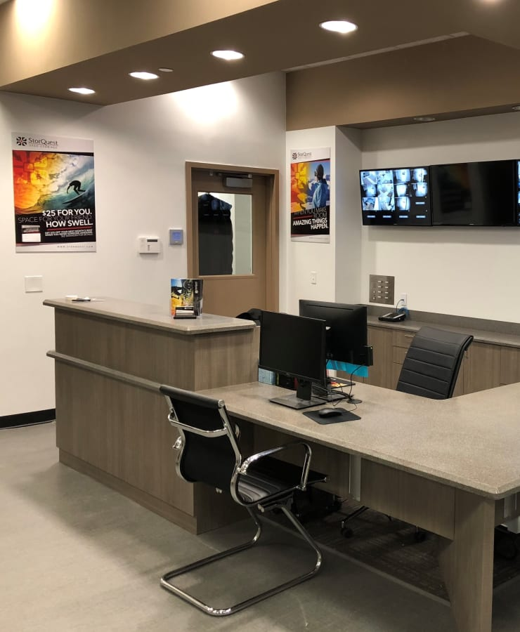 Interior of the leasing office at StorQuest Self Storage in Jersey City, New Jersey