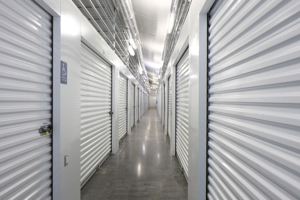 Roll-up doors on self storage units at StayLock Storage in Simpsonville, South Carolina