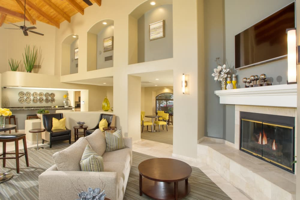 Grand room with fireplace at San Marin at the Civic Center in Scottsdale, Arizona