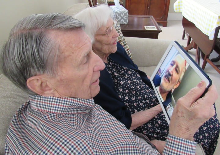 Phil and Marilyn Beluscheck Facetime the mayor of Westmont on their 69th wedding anniversary.