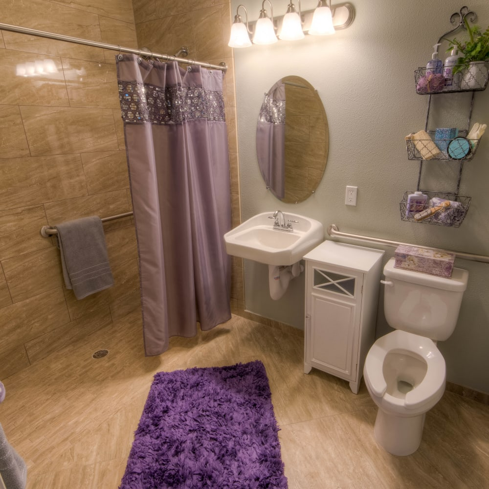 A memory care bathroom at Inspired Living Tampa in Tampa, Florida