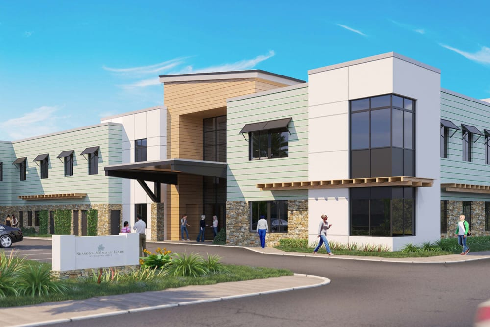 Rendering of main entrance at Seasons Memory Care at Rolling Hills in Torrance, California.