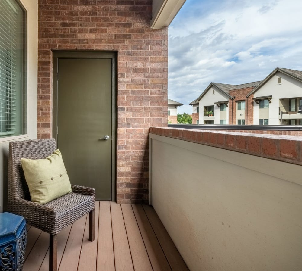 Private balcony space at The Parc at Greenwood Village in Greenwood Village, Colorado