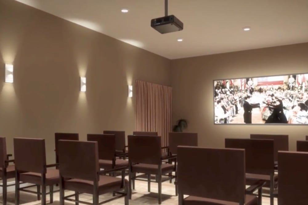 A rendering of seating in the onsite movie theater at Harmony at Hope Mills in Fayetteville, North Carolina
