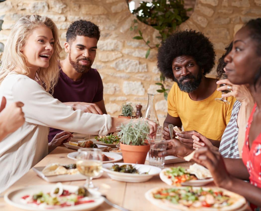 Friends enjoying lunch in Lafayette, California near 1038 on Second