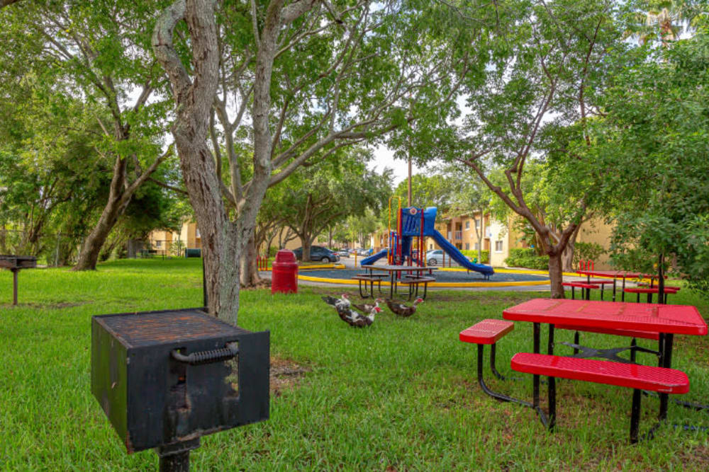 Picnic & Grill Area at Fairway View Apartments in Hialeah, Florida