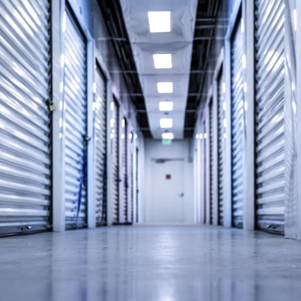 White doors on indoor units at StorQuest Self Storage in Aurora, Colorado
