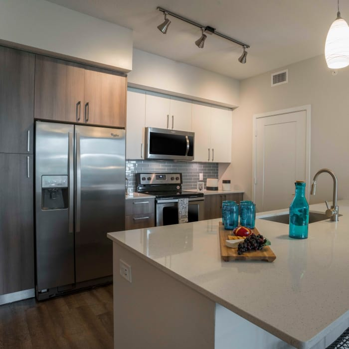 Upgraded model kitchen at Delray Station in Delray Beach, Florida