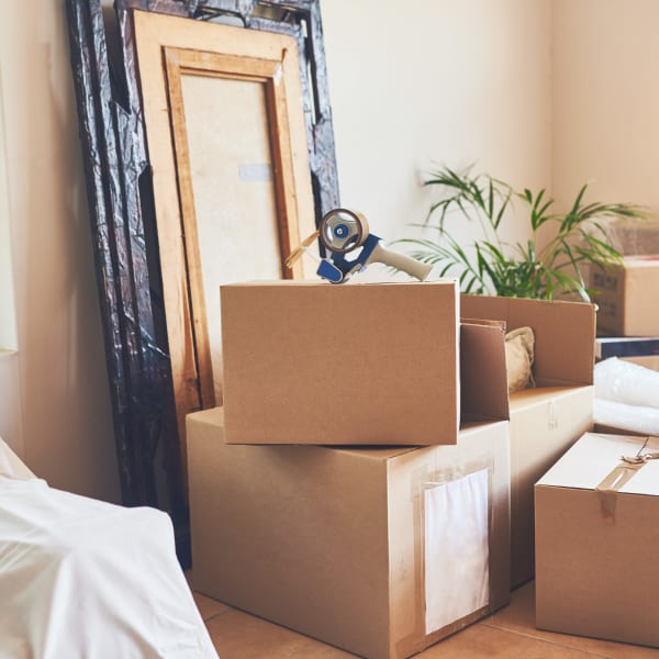 Artwork and other fragile items are in boxes and ready to store at StorageLand Rental Spaces in Arlington, Texas