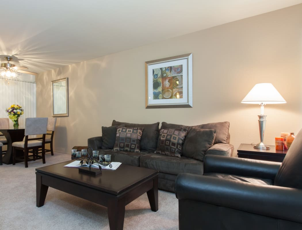 Well decorated model living room at Diablo Pointe in Walnut Creek, California