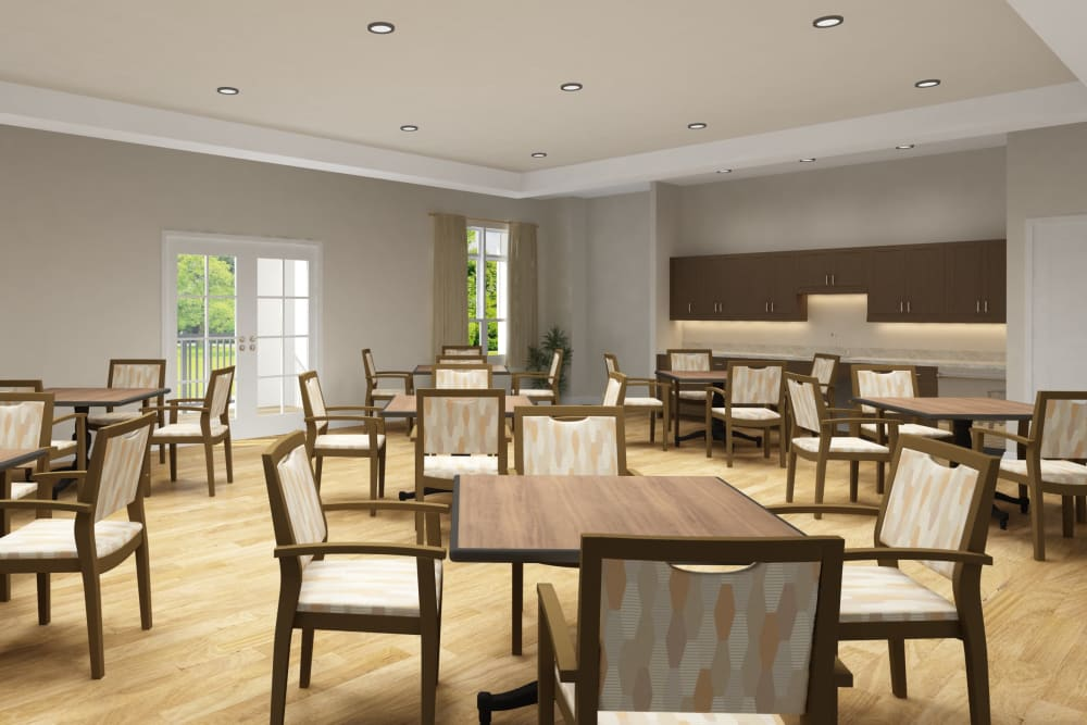Architectural rendering of activity room at Harmony at Bellevue in Nashville, Tennessee