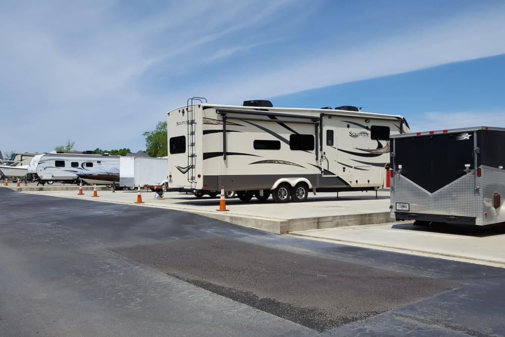 RV parking at Monster Self Storage in Bonaire, Georgia