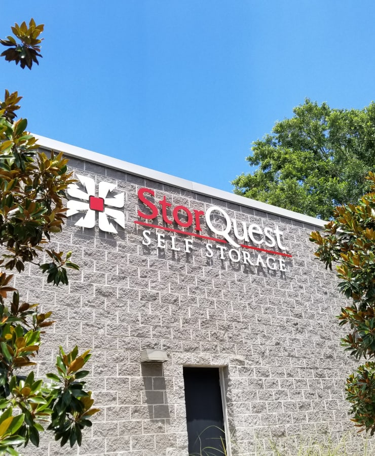 The exterior of the main entrance at StorQuest Self Storage in Tallahassee, Florida
