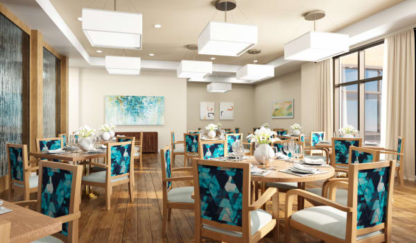 A spacious dining room at Anthology of Blue Ash in Blue Ash, Ohio.