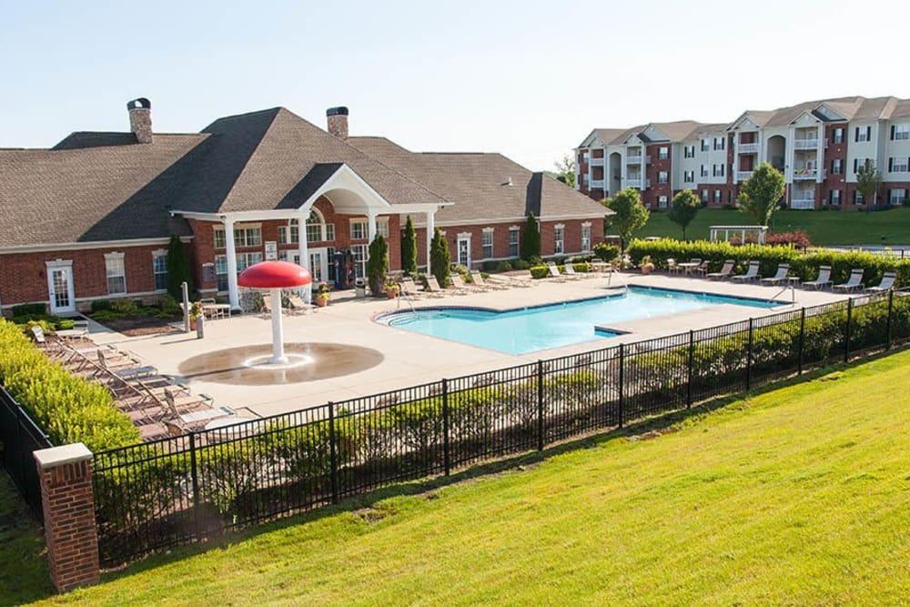 Resort-style pool and splash zone at O'Fallon Lakes in O'Fallon, Missouri