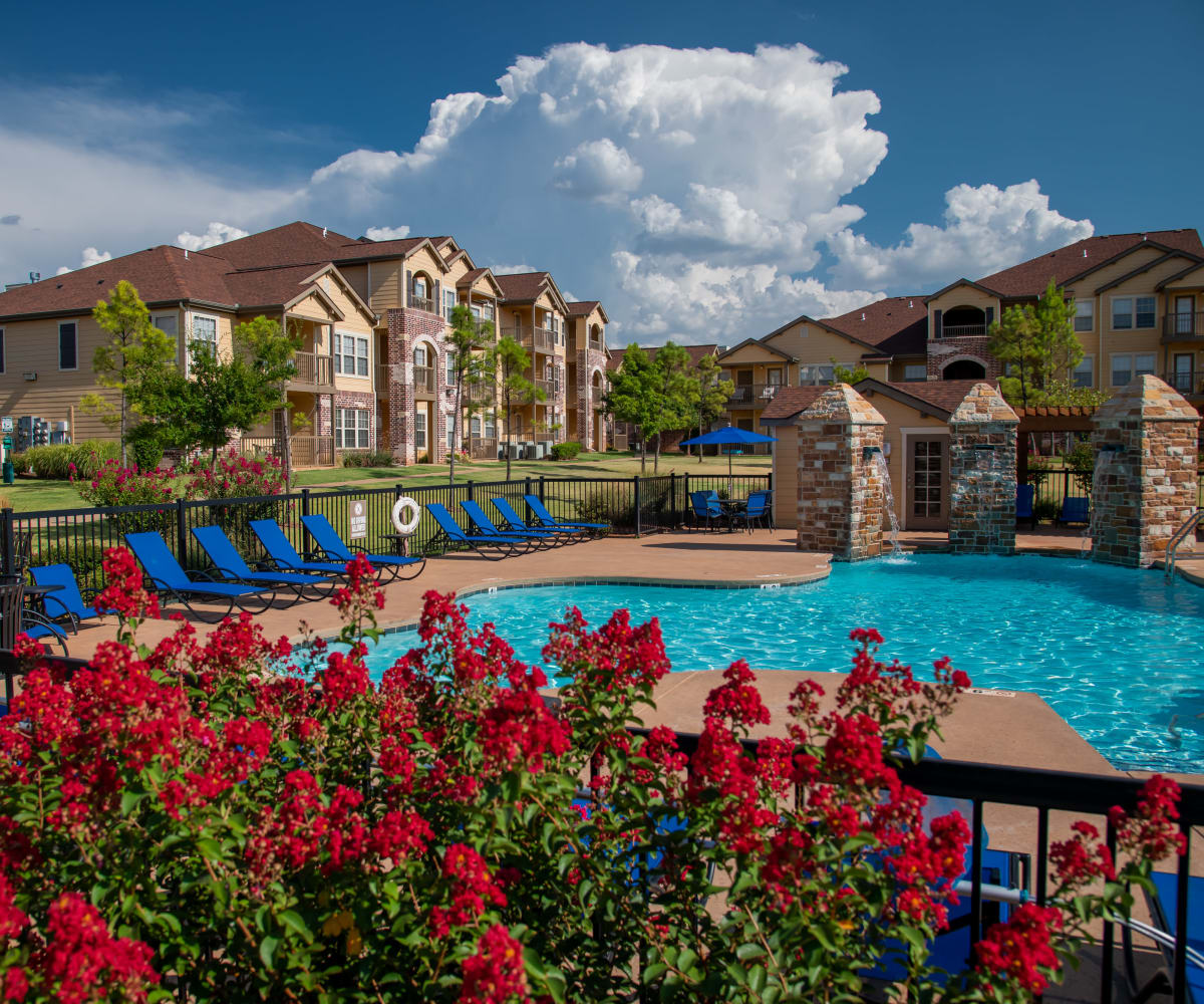 Beautiful pool & waterfalls at Villas at Canyon Ranch in Yukon, Oklahoma