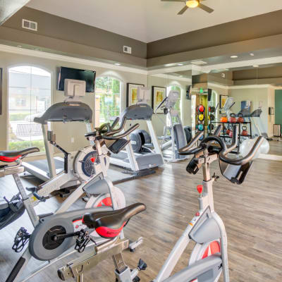Well-equipped onsite fitness center at Villa Del Sol in Sunnyvale, California